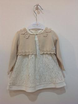 Koronkowa sukienka dla dziewczynki wraz z bolerkiem z dzianiny