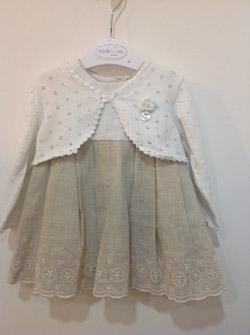 sukienka z lnu obszywana gipiurą