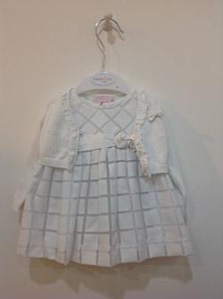 Biała sukieneczka w kratkę z bolerkiem