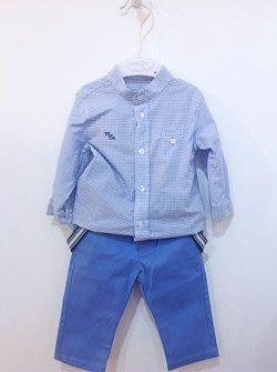 Błękitny komplet chłopięcy. Koszula i spodnie dla chłopca